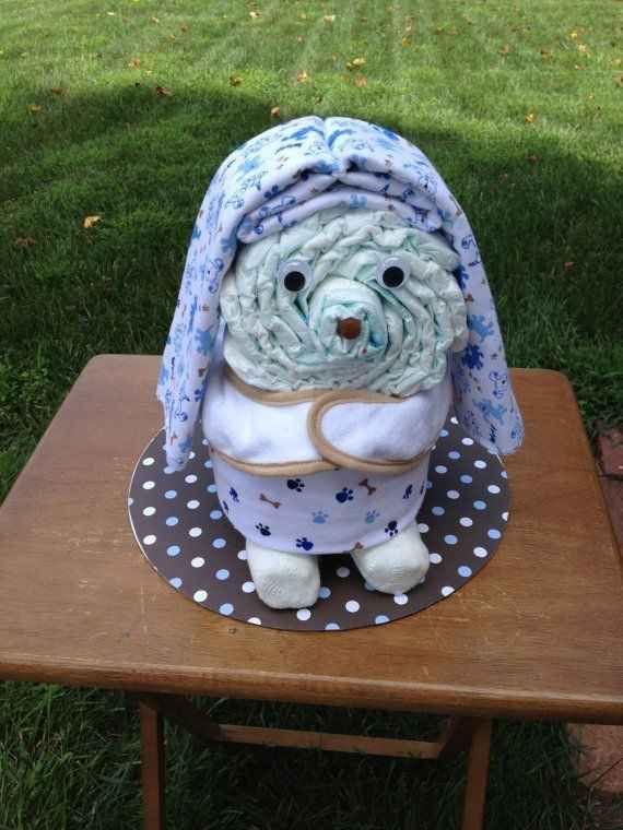 A floppy-eared dog diaper cake idea for baby shower