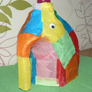 """a not so overdone idea to go with the """"Elmer"""" book series by David McKee (1/2 a milk jug and tissue paper collage)."""
