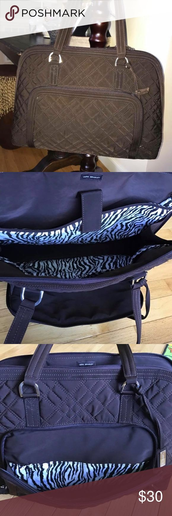 Espresso Brown Vera Bradley Laptop Bag In excellent condition.  Small stitching on the bottom corner that is not very noticeable when wearing! Vera Bradley Bags Laptop Bags