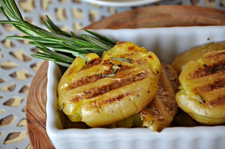 smashed potatoes, made on a panini grill.