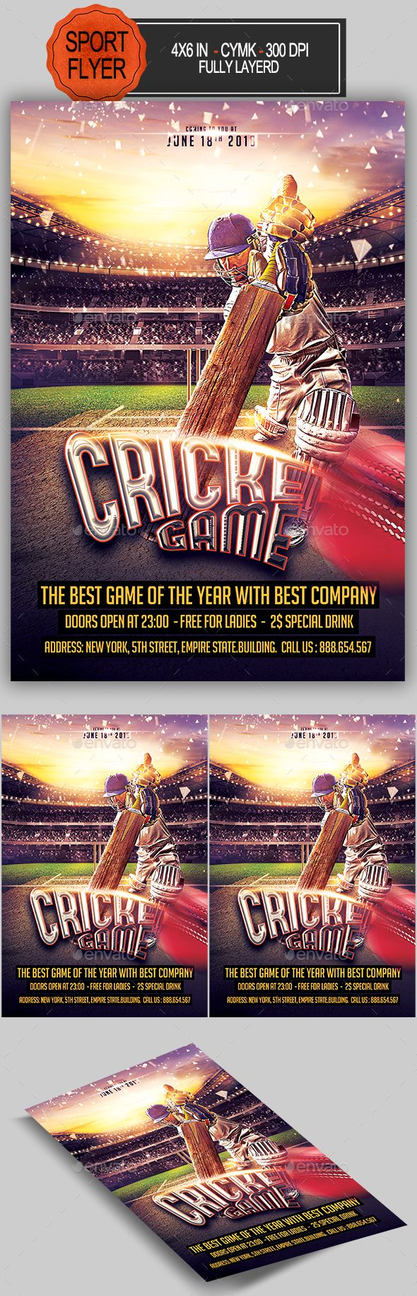 Cricket Game Flyer Design Template - Sports Events Flyer Template PSD. Download here: https://graphicriver.net/item/cricket-game-flyer/17036311?s_rank=18&ref=yinkira