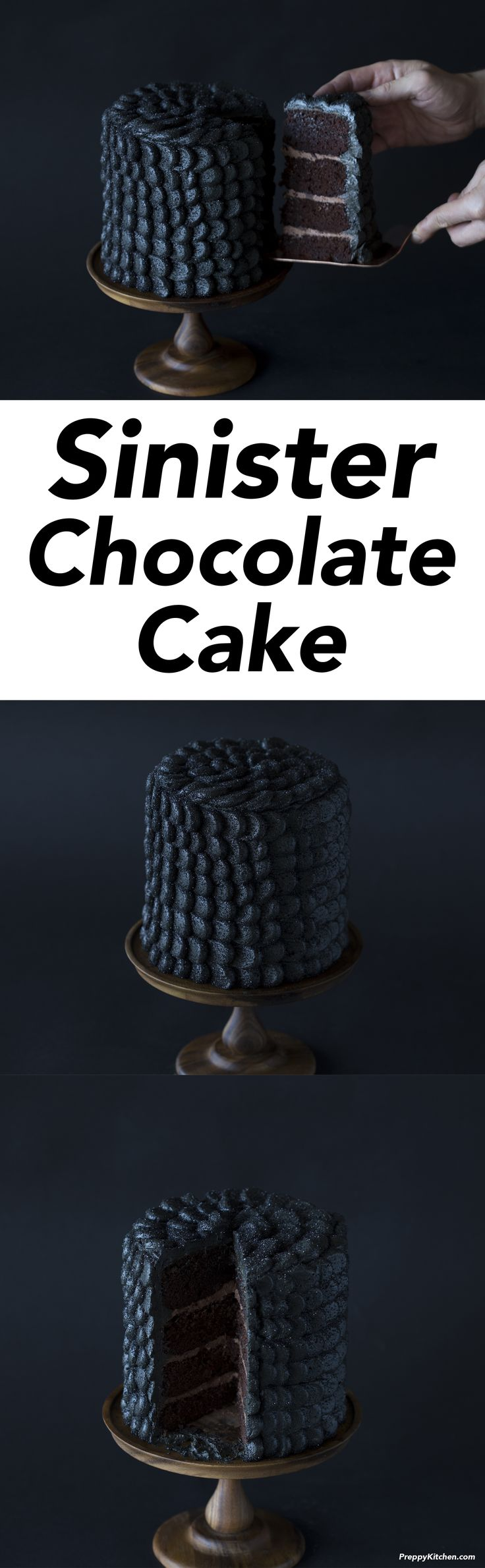 Sinfully delicious or pure evil?? This chocolate cake is coated in delicious black scales giving it a nefarious look that's perfect for Halloween! Click over for the full recipe up on the blog