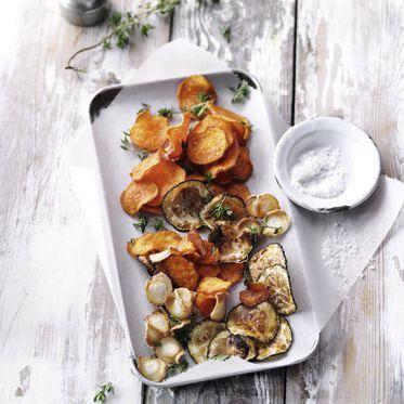 Gemüsechips aus dem Ofen mit Thymian und Knoblauch Rezept | Küchengötter