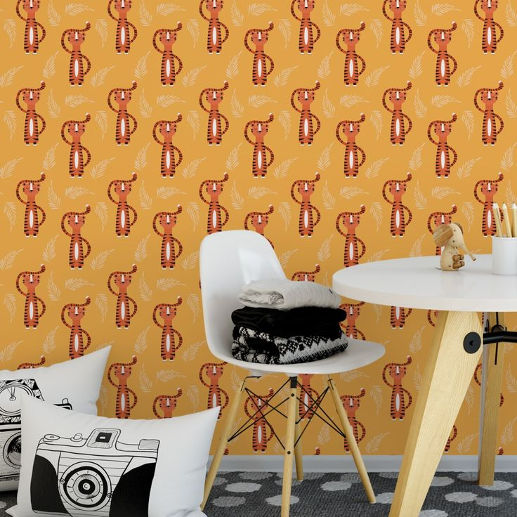 Trendige #Kinder #Jugend Tapete mit lustigem #Sieger Tiger auf gelb angepasst an Ikea Wandfarben. Kreiren Sie mit dieser schönen Tapete ein einzigartiges #Wohnambiente auch für jung Gebliebene  #gelb #ikea #tapete #tiere #tiger #gräflichmünsterschemanufaktur #motivation  Tapeten Rollen Breite: 46,5cm Rapport Höhe: 23,25 cm Design Familie: 00032
