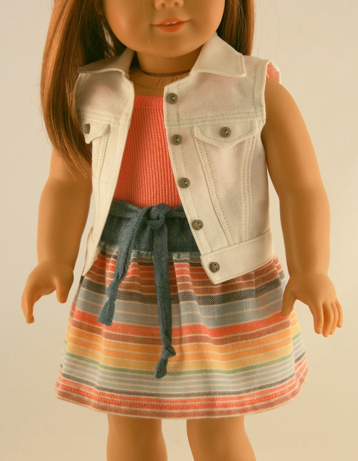 Sleeveless Jean Jacket, Coral Tank, and Striped Skirt with Tie Belt by Forever18Inches