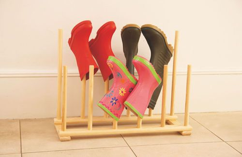 diy shoe/boot storage | made, solid pine boot holder will keep wellies and outdoor shoes ...