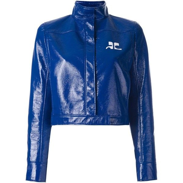 Courrèges vinyl cropped jacket ($1,135) ❤ liked on Polyvore featuring outerwear, jackets, blue, vinyl jacket, blue cropped jacket, cropped jacket and blue jackets