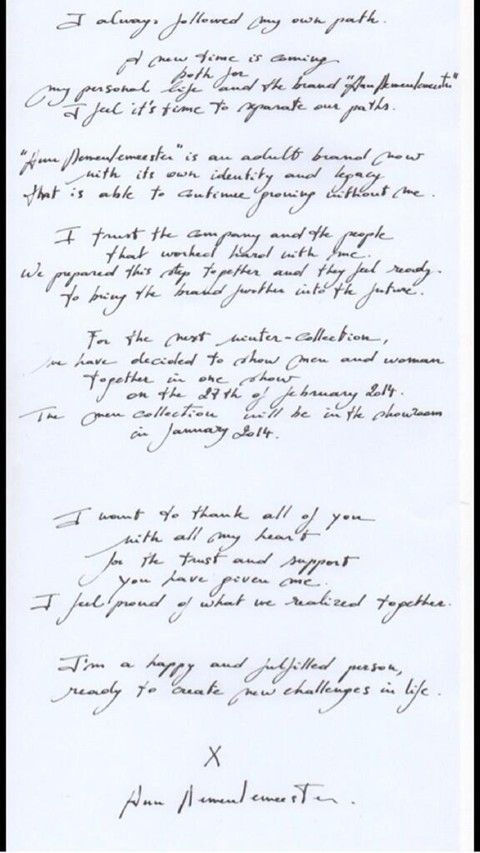 Ann Demeulemeester\u0027s resignation letter (AnOther Magazine