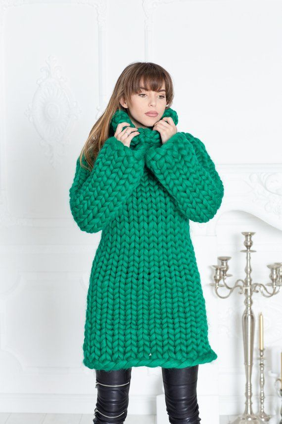 buy popular 14ed9 01db1 3,5 kg Merino Wool Sweater Dress, Huge Super Chunky Knit ...