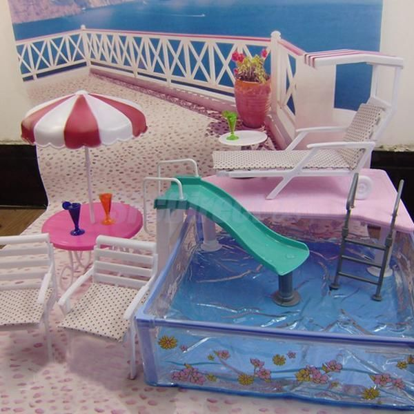 Kids diy barbie doll swimming pool play set parts dollhouse supplies funny barbie dolls and plays for Barbie doll house with swimming pool