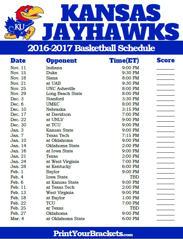 Kansas Jayhawks 2016-2017 College Basketball Schedule