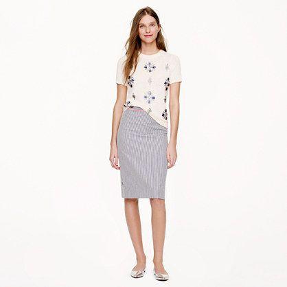 striped seersucker pencil skirt / jcrew