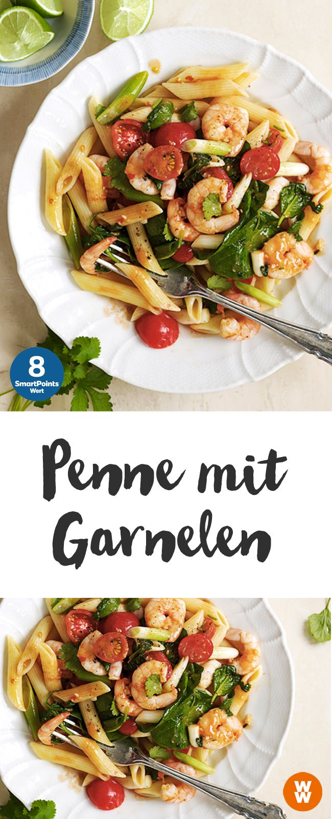 Penne mit Garnelen | 4 Portionen, 8 SmartPoints/Portion, Weight Watchers, Nudeln, fertig in 20 min.