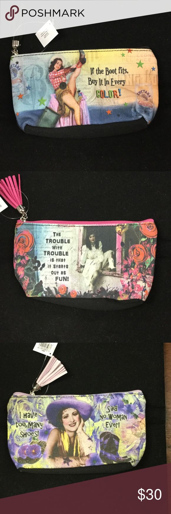 Vintage Sass Pouch These vintage pouches are sure to make you laugh with their hilarious sassy sayings and the vintage photos. *not free people brand, listed for exposure* Free People Bags Clutches & Wristlets
