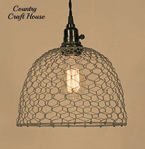 Barn Light Electric Company Coupon: Primitive Country Farmhouse Chic CHICKEN WIRE PENDANT