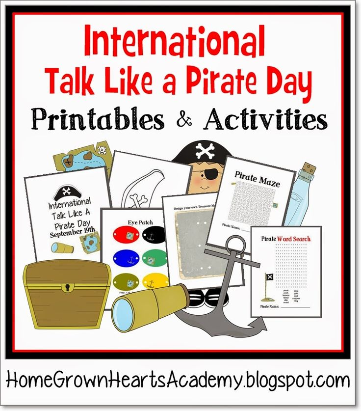 International Talk Like a Pirate Day Printables and Activities