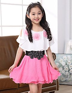 Girl's+Solid+Dress,Polyester+Summer+Pink+/+Red+–+USD+$+16.99