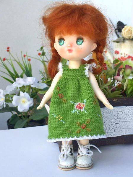 5- 6 inch doll knitted green wool dress. Dress to tiny BJD doll. Spring  Dress for Lati yellow or similar size doll. BJD outfit,Creativhook by Creativhook on Etsy