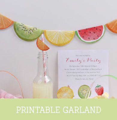FREE printable fruity Garland | Tinyme