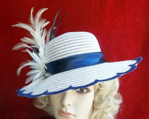 Wide Brim Blue and White Hat, Derby Hat, Garden Party, Tea Party