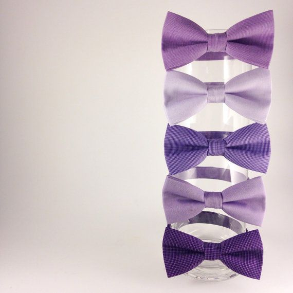 Purple bow tie set set of five mismatched groomsmen by NACreates