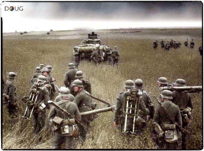'Operation Barbarossa' 1941. For the German soldier, the sheer vastness of Russia turned initial feelings of success into one of despair.  Racing forward day after day, week after week, the German soldier found nothing but grassland. The Russian's implementation of a 'scorched earth' policy, added to the frustration.  The gradual realisation of the immensity of the country made the German troops feel alone and truly 'insignificant'.