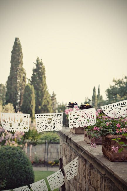 #papel-picado  Floral Design: Tuscany Flowers - tuscanyflowers.com/ Photography: Marianne Taylor Photography - mariannetaylorphotography.co.uk Planning: Rossana Sapori - weddingsinumbria.com/index.php  Read More: http://www.stylemepretty.com/2011/08/23/florence-wedding-by-marianne-taylor-photography/