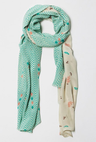 """A Peace Treaty — HANBUN. . . Half teal, coral and off-white zigzag and diamond pattern with half teal, taupe and coral blossom pattern. Measures 72"""" X 43""""             Hand-printed 100% Silk    Handmade in India"""
