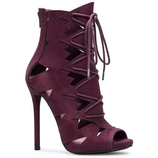 ShoeDazzle Booties - Above Ankle Analy Heeled Sandal Womens Purple ❤ liked on Polyvore featuring shoes, booties - above ankle, purple, heels stilettos, cut-out shoes, sexy stilettos, laced up shoes and stiletto heel shoes
