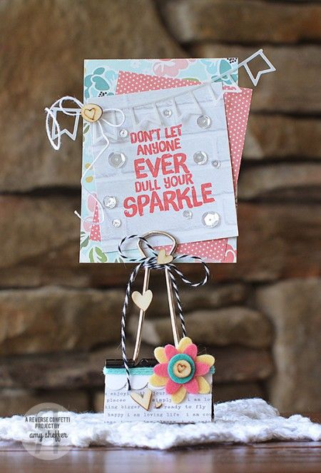 Altered Binder Clip. Reverse Confetti products: Double Edge Scallop Border, Petals 'N' Posies, Double Banner Garland Confetti Cuts dies; Shine From Within Stamp set