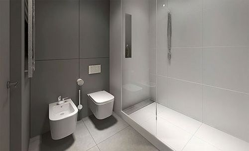 Grey and white minimalist bathroom