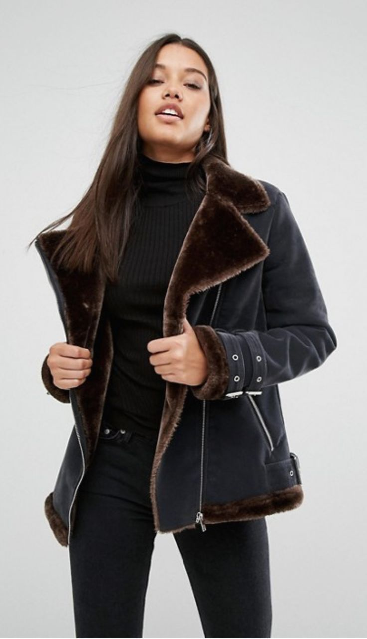 Missguided Faux Fur Lined Aviator Jacket
