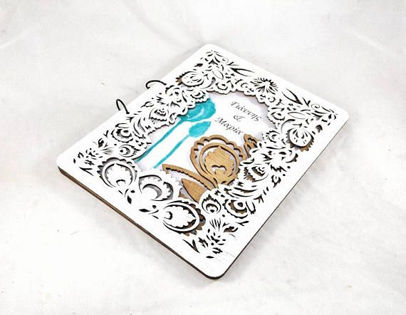 Tropical Love Wedding Guest Book Minimal 3D Guestbook