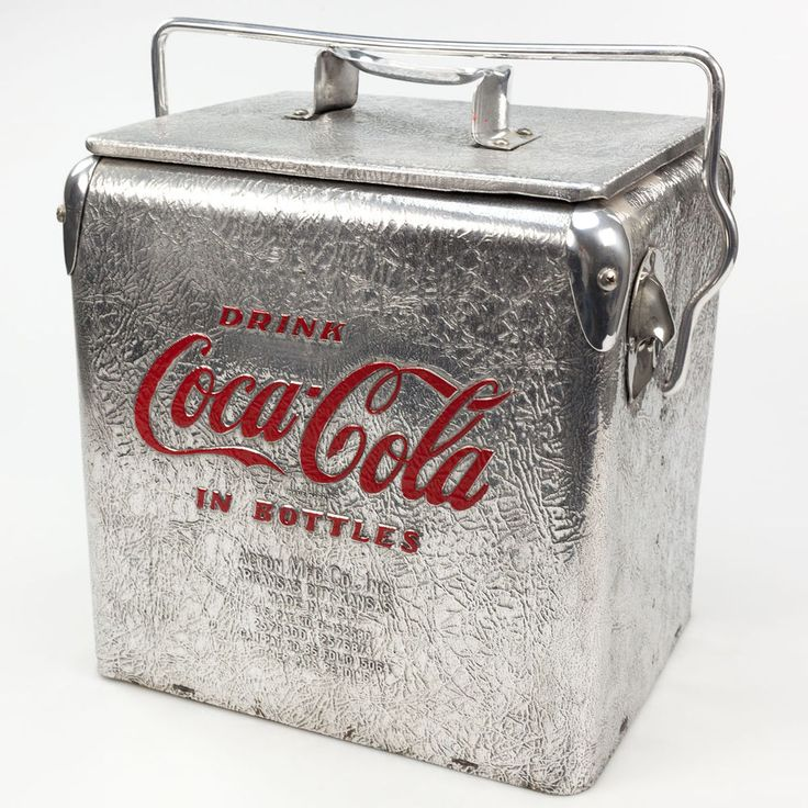 Vintage 1950's Coca-Cola Acton Crinkled Aluminum 6 Pack Picnic Cooler Very Rare #CocaCola