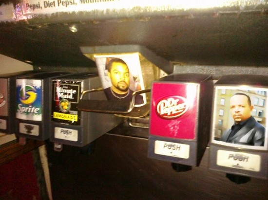 Ice Cube and Ice-T, in soda machine form