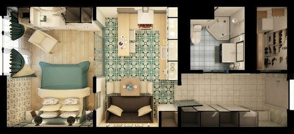 Квартира-студия площадью 36,4 кв.м.  - Дизайн интерьеров | Идеи вашего дома | Lodgers