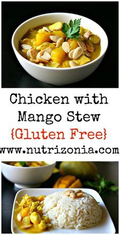 A chicken with mango stew, a comfort healthy meal that you can make in 30 minutes. This meal is gluten free, and you can make it vegan too!