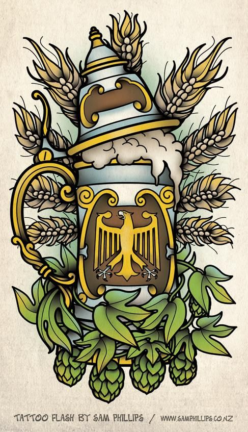 german beer stein graphic / drawing / tattoo
