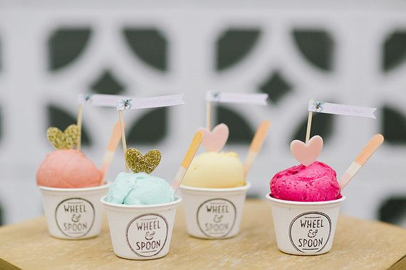 For a summer outdoor wedding, why not treat your guests to ice cream with adorable toppers to match?