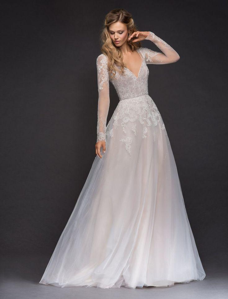 Long sleeve beaded lace A-lne wedding dress. | Hayley Paige | Style: Mara