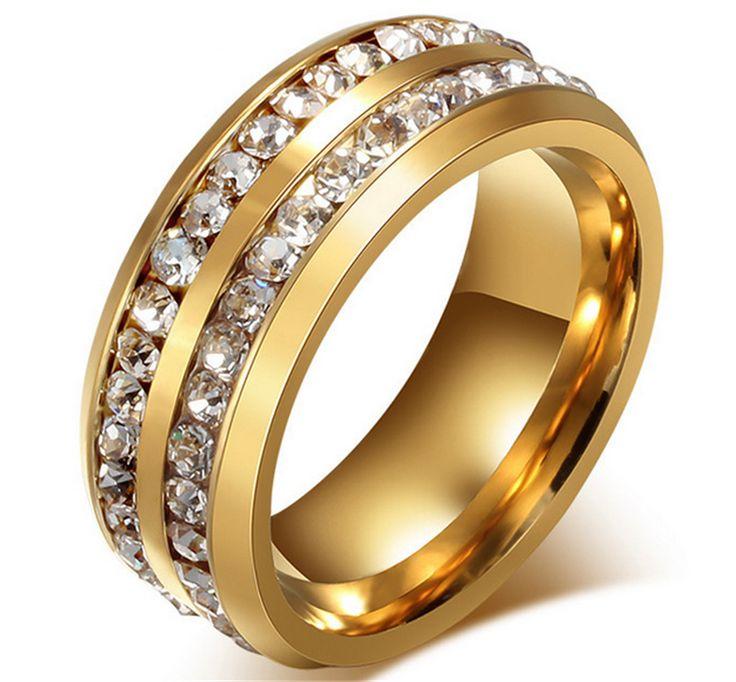Cheap Nueva Moda de Los Hombres de La Boda de cristal Anillos 18 K oro Platino anillos de bodas de cristal de titanio Anillos de Acero Inoxidable de Los Hombres Anillos de Boda, Compro Calidad Anillos directamente de los surtidores de China:    100% A EstrenarMaterial:18 K Oro/platino Plateadoanillopeso: Sobre 5.8gtamaño: 6