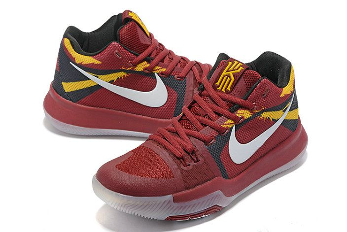 Nike Zoom Kyrie 3 Mens Basketball Shoes Wine Red White Black Yellow ... 1e972d5e4