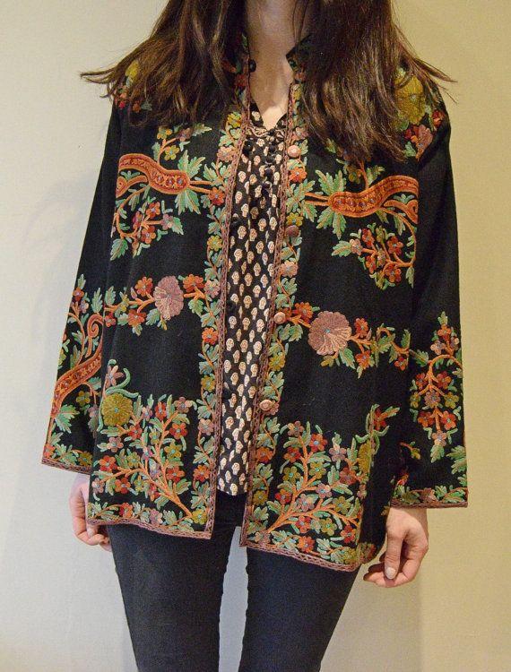 sold xx reserved xx Indian wool jacket Gypsy Festival coat Folk boho hippy duster jacket  m  l Uk 10 12 14 16 US 6 10 8 12