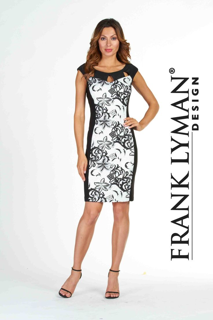 Lyman by Frank Lyman 2017. Stylish cocktail dress with black white embroidered lace and slimming side panels. Proudly Made In Canada