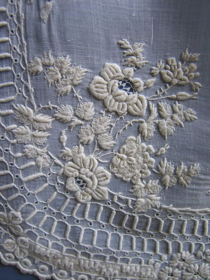 Antique WHITEWORK Embroidered Large Handkerchief c.1850 - 16x16 inch. by textilesgoneby on Etsy
