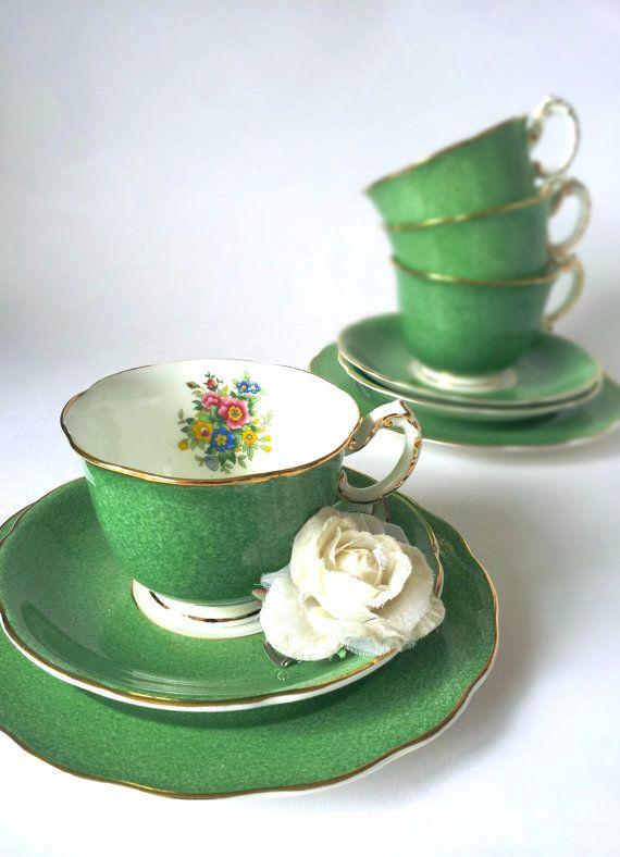 Exquisit Rare Emerald Green Vintage Tea Set by TheVintageCakeStand