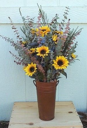 For Rustic Wedding decor  Love this but in galvanized!!!!! I would add a little more fall color.