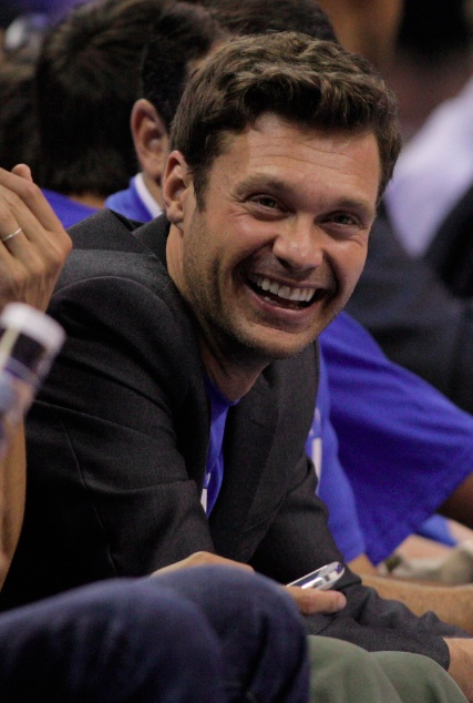 Ryan Seacrest at Chesapeake Energy Arena for Game 4 of the Western Conference Finals - and he even put on his Thunder shirt! (Photo by Brett Deering/Stringer, via Getty Images)