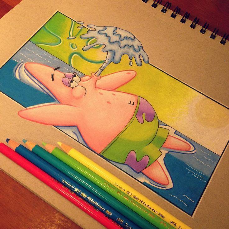 if i was a cartoon character patrickstar starfish spongebob spongebobsquarepants nicktoons nickelodeon cartoon tv draw drawing art