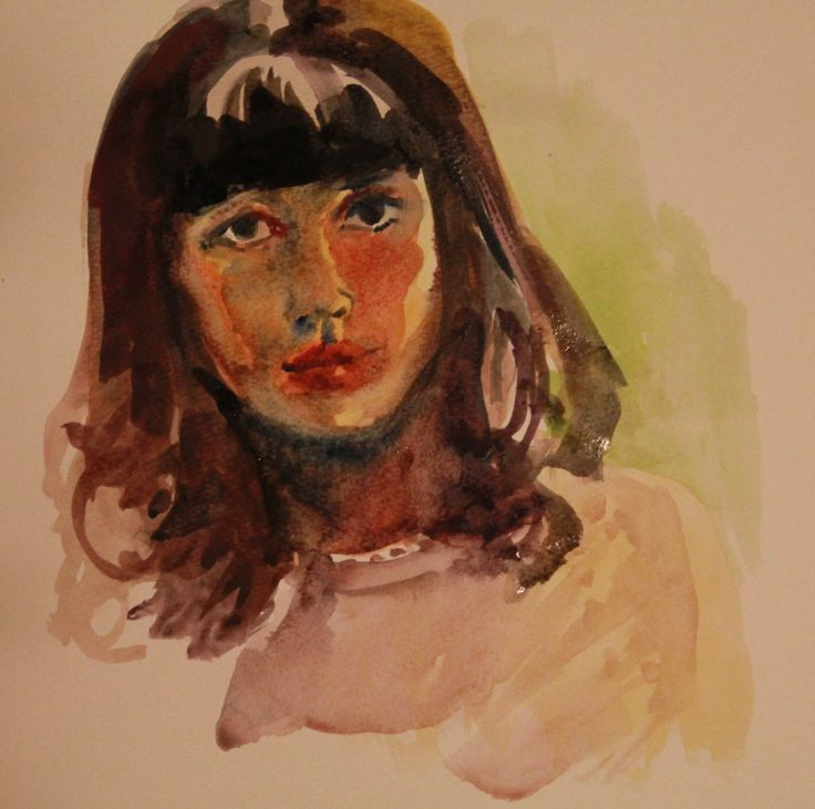 Girl, portrait, woman, portrait, watercolor
